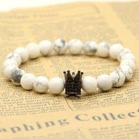 Wholesale bracelet stone howlite - 1PCS High Grade Jewelry Micro Inlay Black CZ Beads Crown Bracelets With mm Matte Agate White Howlite Stone