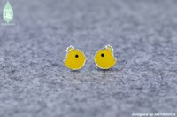 Mindious Design Adorabile Cute Yellow Crown pulcini uccello 925 sterling silver Studs Orecchini Everyday donna borchie MS0014 5 paia / lotto