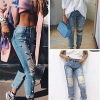 Wholesale Cowboys Hot Sexy - Hot sexy wild girl pearls hole tatters ripped destroyed skinny denim jeans boyfriend beads hollow distrressed broken tore up cowboy pants