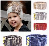 Wholesale Crochet Kid Baby Girl Headband - baby crochet headbands kids knitted hair bands girls handmade wool head wraps children winter earflap buttons ear warmer headwear wholesale