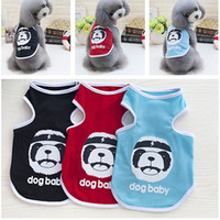 Happy Boy Dog Pet Vest Ventilate Cartoon Puppy Cotton Coats Vestiti con il modello del cane Pet Supplier Blu Nero Rosso Colore 6 Taglia 50PCS / LOT