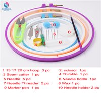 Wholesale Wholesale Embroidery Hoops - 13 17 20 cm circular plastic embroidery hoops as tool sets for cross stitch with tailor scissors thread cutter clipper for sale
