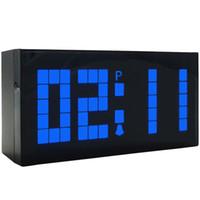 Wholesale Wall Clock Led Free Shipping - Alarm Clock Blue LED Wall Fashion Clock Children Gift Birthday Gift Table Small Digital Clock Free Shipping for 1 PCS