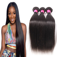 Wholesale Dye Brazilian Hair - Hair 6a Brazilian Virgin Straight Hair 3 Bundles 100% Unprocessed Human Hair Weave Extensions Natural Color Can Be Dyed and Bleached