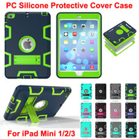 Wholesale china screen protector - DHL 3 in 1 Shockproof kids Protector Case PC + Silicone Hybrid Robot Protect Screen Protector cover case for ipad mini 1 2 3