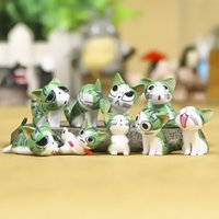 Wholesale Cute Cheese - (9pcs lot) Cheese cat miniature figurines toys cute lovely Model Kids Toys 4cm PVC japanese anime children figure world 151208