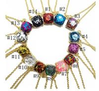 Wholesale Luxury Necklaces Gemstone Pendant - Luxury brand glitter druzy drusy pendant necklace for women Fashion Gold Plating Popular Square Gemstone Stone Pendant necklaces jewelry