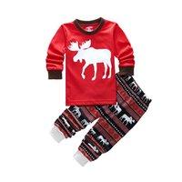 Wholesale Sleepwear For Kids Long Sleeves - Long Sleeve Girls Boys Kids Cotton Christmas Pajama Suits Sleepwear For Christmas 2-7 Years 6 Sizes