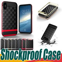 Wholesale Cells Covers - For iPhone X 8 Shockproof Hyrid Cell Phone Cases For iPhone 8 7 6 6S Plus 5 5S SE Samsung Galaxy S7 S8 Plus 2 In 1 Phone Case Cover