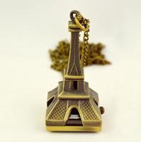 collares victorianos al por mayor-Estilo victoriano Vintage latón La Torre Eiffel Reloj colgante Collar Reloj de bolsillo, 12pcs / lot, dandys