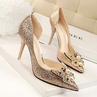 Wholesale Ladies Black Silver Toe Heels - Beautiful Glitter Butterfly Lady Dress Shoes Sexy Women Pointed Toe Thin High Heels Satin PU Leather Festival Party Wedding Shoes Pumps