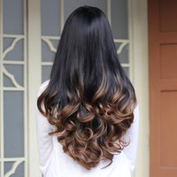 Wholesale Kanekalon Cheap Wigs - Wholesale-Synthetic Hair Half Wig for Women 3 4 African American Ombre Wigs for Black Women Female Afro Cheap Heat Resistant Kanekalon