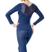 Wholesale Light Blue Lace Underwear - Wholesale-New Women Shapewear Deep V Neck Warm Underwear Set Long Sleeve Back Lace Tops + Pant