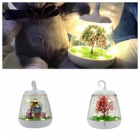 Wholesale Plant Sensor - Christmas Night Light Decoration Voice Control Festival Party Gift LED Charge Sensor Table Lamp Christmas Tree With Plants CCA8193 3pcs