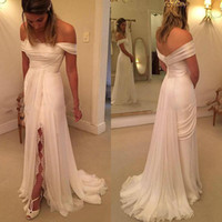 Wholesale Cheap Lace Gowns China - Simple 2016 Chiffon Beach Wedding Dresses Cheap Off Shoulder Pleats Lace Side Split Long Bridal Gowns Custom Made China EN90218