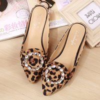 Donna Scarpe Flock Leopard Pantofole Pointed Toe Sandals Flats Slides rhinestone Mules Pocchi Mocassini SCUFFS Purple Rose Red