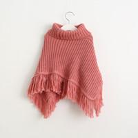 Wholesale Kids Girl Wool Sweater - New Baby Girls Knit Tassel Poncho 2016 Kids Girls Wool Blends Knitted Outwear Girls Princess Autumn Winter Sweater Children's clothing
