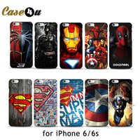 Wholesale Superman Logo Iphone Case - Wholesale-Marvel Avengers Spider man Dark Knight Hard Case Cover for iPhone 6 6s Batman Superman S logo Captain America Shield 10 Designs