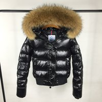 Wholesale thick white fur luxury coat - Luxury Brand M Women Jacket Short thickening Warm Down Coat Thickening Female Clothes Real Raccoon Fur Collar Hood Down Jacket