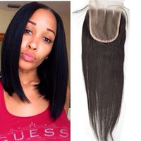 Wholesale lace closure top piece - Cheap Lace Closure 4x4 Peruvian Virgin Human Hair Straight Top Lace Closures Pieces With Bleached Knots Free Middle 3 Way Part G-EASY