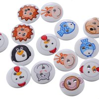 Wholesale Cute Sewing Patterns - Radom Mixed Cute Cartoon 2 Holes Animal Pattern Round Wooden Buttons 15mm Button For Sewing Scrapbooking DIY Craft I255L