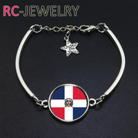Wholesale Cup Chain Settings Wholesale - 2017 Fashion Jewelry Dominican Rep football team Flag bracelet Hand-made World Cup Alloy bracelet Bracelet Bangle