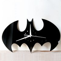 Wholesale Modern Style Decorating - mirror wall stickers clock black bat Creative Home Decor DIY Carved bedroom Removable Decorate art wall clock 2017 3d stickers wholesale