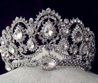 Wholesale Sparkled Clear Crystal - Sparkle Beaded Crystals Wedding Crowns 2016 Bridal Crystal Veil Tiara Crown Headband Hair Accessories Wedding Party Tiara