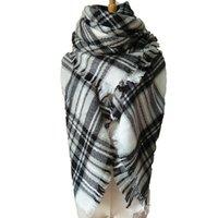 Wholesale Shawl Collar Cashmere Sweater - High collar plaid loose sweater tassel lattice cloak shawl