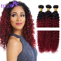 Wholesale Two Tone Brazilian Mixed Length - Brazilian Ombre Human Hair 1B Burgundy Ombre Hair Extensions Hot Sale Brazilian Kinky Curly Two Tone Bundle 3pcs lot