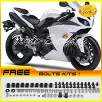 Wholesale Half Fairing - Injection Molded Fairing Kit With Half Tank Cover Fits For YZF1000 R1 2009-2012 YZF 1000 09-12 White 73F98