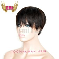 Wholesale Straight Indian Hair For Sale - Best Sale Pixie short Huamn Hair wigs for Black Women 100% Human African American lace Wig with Baby hair Short Hair Wigs 130% Density