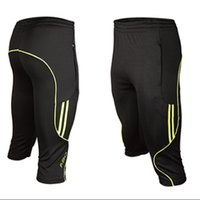 Wholesale men shorts pants legging - Wholesale-2016 3 4 Length Men Soccers Trainings Pants Slim Skinny Leg Track Short Pant Breathable Male active Capris Runs Footballs Pant