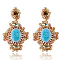 Wholesale Emerald Earrings Oval - Luxury Vintage Oval Emerald Drop Dangle Earrings European Big Long arrings for Women Party Costume Jewelry Fashion Statement Earrings