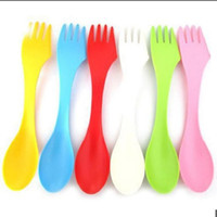 Wholesale spork knife fork - Wholesale-6 Pcs Beautiful Delicate Style Spoon Fork Knife Cutlery Camping Hiking Spork Combo Travel Gadget NEW