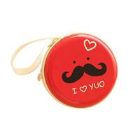 Wholesale Mustache Earphones - Wholesale- Round Mustache Coin Purse Earphone Key Case Zip Storage Bag Pouch Mini Wallet 92DJ