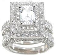 joyas de oro de 14kt al por mayor-Venta al por mayor profesional de la joyería de la vendimia topacio simulado diamante 14KT oro blanco relleno 3-en-1 anillo de bodas Set para regalo de Navidad Sz 5-10