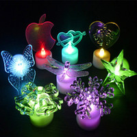 Wholesale Personality Candle - Creative personality LED Night light Christmas Decorations Acrylic Butterfly Snowflake Bell Christmas Tree Christmas Electronic Candle Light