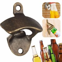Wholesale Vintage Bottle Cap Soda - Vintage Bronze Wall Mounted Opener Wine Beer Soda Glass Cap Bottle Opener Kitchen Bar Gift