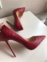 Wholesale pump photos - Free shipping fashion women pumps vintage red python snake point toe high heel thin heels boots shoes genuine leather real photo