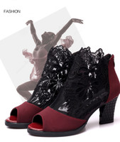 Wholesale Latin Dance Shoes High Heels - 2017 New Arrival Dancing Shoes Black Red Lace Mesh Women's Latin Dancing Shoes High-heeled Adjusted Width Boots Narrow
