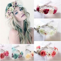 Wholesale christmas wreath wholesalers - 6 Colors New Bohemia Handmade Flower Crown Wedding Wreath Bridal Headdress Headband Hairband Hair Band Accessories CCA6848 60pcs