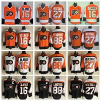 altı yüzlü forması toptan satış-Philadelphia Flyers Hokey Formaları Buz 16 Bobby Clarke 88 Eric Lindros 27 Ron Hextall Alternatif Siyah Turuncu Beyaz Takım Rengi