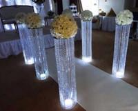 hochzeitstisch-mittelstücke geführt großhandel-2016 Hochzeit Dekoration Acryl Kristall Säule Gang Straße führen mit LED Leuchttisch Mittelstücke für home Hochzeit Hotel Party