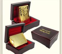 euro tabakları toptan satış-10 adet Altın varak kaplama iskambil kartları Plastik Poker ABD doları / Euro Stil / Genel tarzı hediye kutusu ile Y067