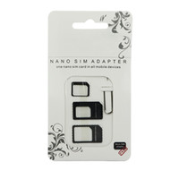 Wholesale Galaxy S3 Sim - 4 in 1 Nano SIM Adapter Micro SIM Adapter Nano to Micro Adapter Kit For iPhone 4 5 for iPad for HTC One X for Sumsung Galaxy S3 Wholesale