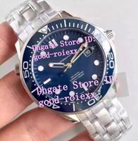 Wholesale Swiss Eta Watches - Factory BP Mens Automatic Blue Dial Ceramic Bezel Watch Men's Swiss Eta 2836 Watches Men Planet Sapphire Crystal Co Axial Wristwatches