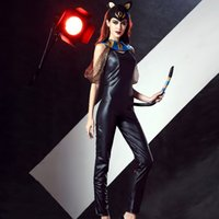 Wholesale sexy leather catwoman costume - New Halloween Catwoman Costume 3 Pieces Black Faux Leather Sleeveless Long Catsuit Sexy Cat Catsuit with Tail for Women A415129