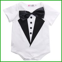 Wholesale Baby Boy Black Formal Party - 2016 newest toddler baby rompers formal animal print black white styles bow knot baby boys girls party playsuits outfits free shipping