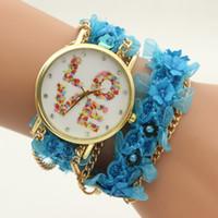 Wholesale Flower Rose Belt - 2016 Lace bracelet watch cartoon girls rose flower Eiffel Tower LOVE watches fashion women chain bracelets casual dress quartz watches